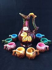 Vintage Vallauris French Hand Paint Floral Decanter with 8 Mugs  Art Pottery