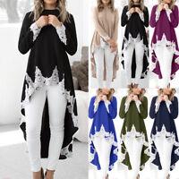 Women Long sleeve Casual Pullover Irregular Hem Tops Blouse Lace Shirt Dress UK