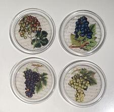 "Set of 4-John Derian Glass Coaster Decoupage 4""- Grapes"