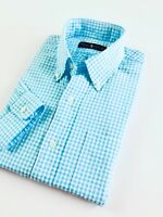 Ralph Lauren Men's Shirt Long Sleeve Seersucker Aqua Blue Gingham Check Pocketed