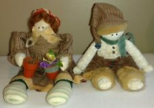 "Two Handmade, Well Made Cloth Dolls 12"" Spring &  10"" Winter"
