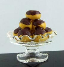 Dolls House Miniature Profiteroles in Pedestal Glass Dish Cake Stand