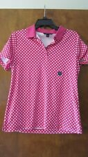 NWT- Lands' End 100% Puma Cotton Polka Dot Polo Neck Short Sleeved T Shirt Top