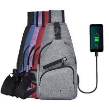 Mens Sling Bag Anti Theft USB Charging Chest Pack Shoulder Bag Crossbody Bag