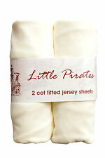 2 x Baby Cot Fitted sheet 60x120 100% cotton jersey BNIP Cream