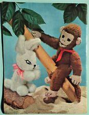 Vintage 50s STITCHCRAFT magazine Oct 1954 original knitting patterns toy monkey