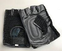 Jollisport Guanti  mezze dita in rete e pelle per moto e auto colore nero