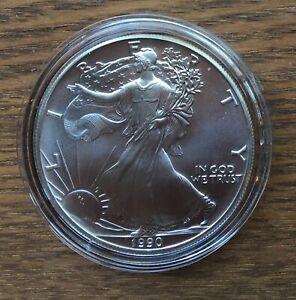 H246 US USA UNITED STATES 1990 1OZ $1 SILVER BU UNC EAGLE COIN IN CAPSULE