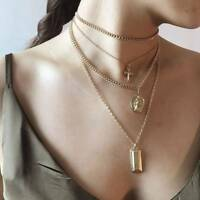 Gold Color Cross Layered  Pendant Necklace Easter Day's Gift For Women Jewelry
