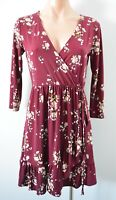Dotti Dress Size 8 Red Pink White Floral Fit Flare