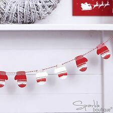 MINI WOODEN MITTEN BUNTING -Red/White- Xmas Hanging Decoration-Christmas Garland