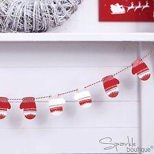 MINI IN LEGNO Mezzoguanto Bunting-Rosso/Bianco-Natale da Appendere Decorazione-Christmas Garland