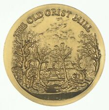 24K Gold Gild Old Grist Mill .925 Sterling Silver 21.3 Grams Round *562
