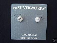 New Sterling Silver Cubic Zirconia Belk Stud Earrings