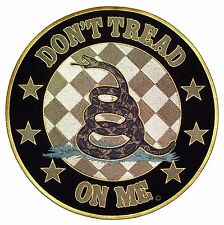 Gran DONT TREAD ON ME Redondo enfadada Serpiente Patriótico bordado BIKER parche