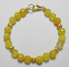 "Yellow Agate beads with gold beads + clasp 7.5"" bracelet"