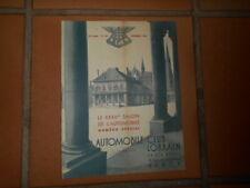 Ancienne revue Numéro spécial Automobile Club Lorrain Novembre 1938