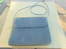 Whiting And Davis Grey Enamel Metal Mesh Handbag