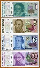 SET Argentina, 1;5;10;50 Australes, ND (1985 - 1991), P-323-324-325-326 UNC