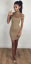 UK Womens Choker High Neck Bodycon Ladies Caged Sleeves Mini Dress Size 6-18