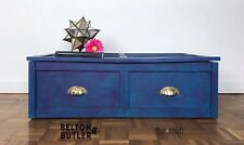 Teal & Purple Lift Lid Blanket / Under Bed / Shoe Storage Solid Wood Storage Box