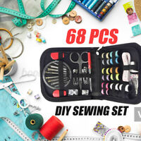 68Pcs Portable Sewing Kit Thread Scissor Tape Pins Thimble Needle Travel Home