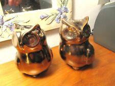 "Owl Gold Tone & Copper Tone Salt & Pepper Shakers 3 1/2 "" Tall;"