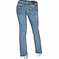 Miss Me Distressed Shredded Destroyed Chain Metal Boot Jeans 27 x 31 JP5002-42