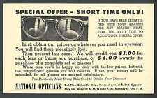 Ca 1940 PC CLEVELAND OH NATIONAL OPTICIANS SPECIAL OFFER ON GLASSES