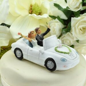 Newlyweds Bride and Groom Waving from Car Wedding Cake Topper