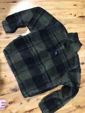 Woolrich Plaid Thick Fleece 1/4 Zip Pullover Mens L Black Green
