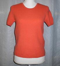 McDuff Women's 100% Pure Cashmere Deep Coral Short Sleeve Crewneck Sweater Sz M