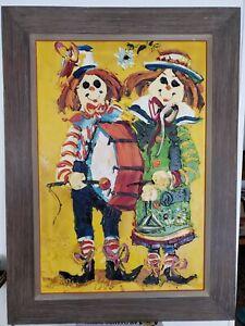 Vintage Original Paul Blaine Henrie Oil Painting Clown Band, 28x38
