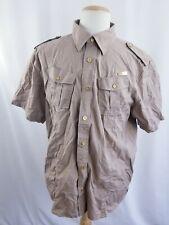 Cavi Mens Size 2XL light Brown Button Down Military Short Sleeve Casual Shirt
