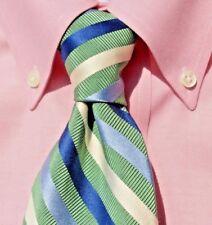 Façonnable Green, Blue & Ivory Striped Silk/Cotton Poplin Tie - France - $110.00
