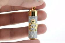 Mens Gold Plated Hip Hop Iced out CZ Angel Capsule Pendant with Rope Chain