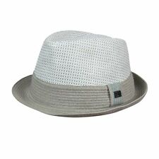 Sean John Men's Colorblocked Off White $45 Woven Straw Fedora hat l / xl