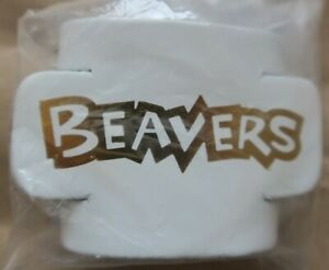 Beaver Embossed Leather Woggles - white