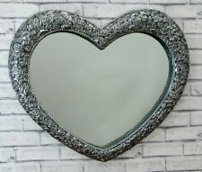 Large Heart Wall Mirror Ornate Antique Silver Frame French Engraved Rose 67x58