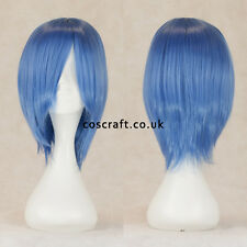 Short medium straight layered cosplay wig in cobalt blue, UK SELLER, Lily style