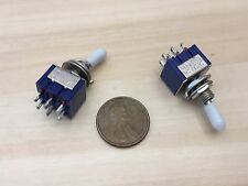 2 x Sleeve White latching 6 Pin ON/ON Toggle Switch 6A 125VAC useless box DPDT A