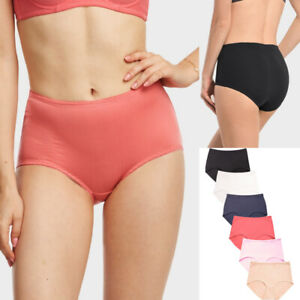 Lot of 6 Womens Brief Panties Set Full High Waist Satin Stretch Comfy Lingerie