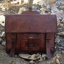 """15"""" Men Leather Messenger Briefcase Laptop Shoulder Bag Book bag Handbag Brown"""