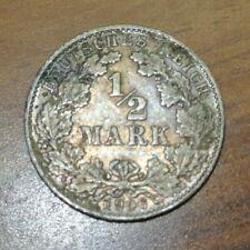 1/2 Mark 1906 D German Empire Coin .900 Fine Silver