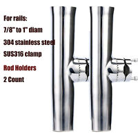 "Pair Stainless Tournament Style Clamp on Fishing Rod Holder for Rails 7/8"" to 1"""