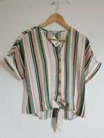 Multicoloured Striped Front-Tie Ladies Short Sleeve Top by George, UK 10, Eur 38
