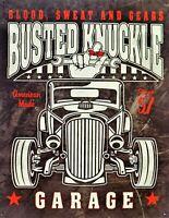 PLAQUE METAL USA vintage hot rod BUSTED KNUCKLE GARAGE - 40 X 30 CM