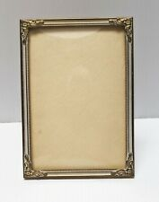 VINTAGE DANISH FANCY PHOTO FRAME WITH  ORNATE CORNERS and DOMED GLASS