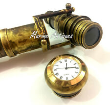 Vintage Antique Hidden Brass Telescope Black Wooden Walking Stick with Clock