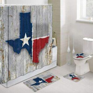 Texas Map Flag Shower Curtain Toilet Cover Rug Bath Mat Contour Rug Set